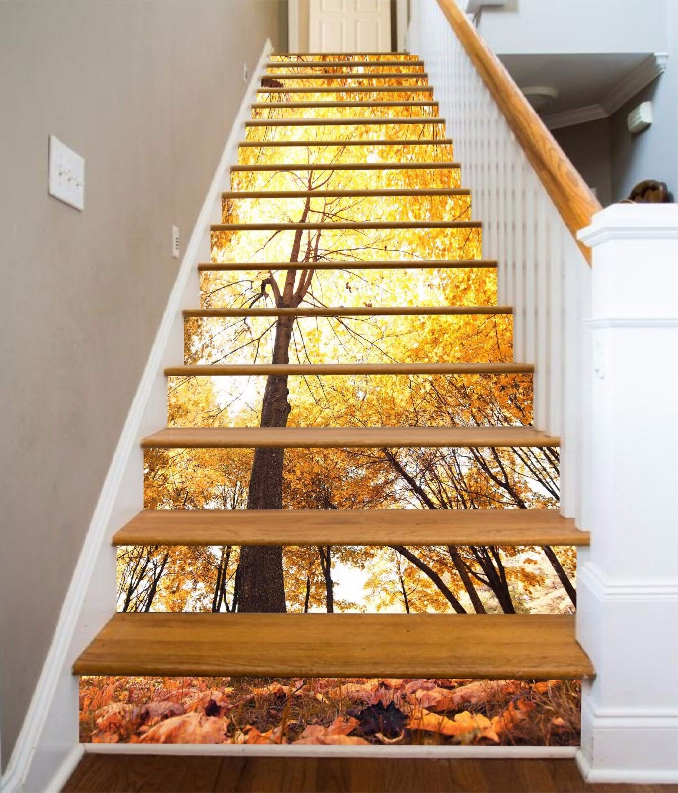 3D Fall Tree 740 Stair Risers Decoration Photo Mural Vinyl Decal Wallpaper AU