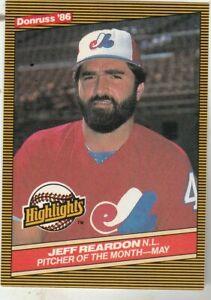 FREE-SHIPPING-MINT-1986-EXPOS-Donruss-Highlights-14-Jeff-Reardon-BONUS-CARDS
