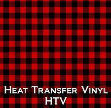 Red Black Buffalo Plaid Htv Heat Transfer Vinyl Printed Craft Sheet 18 X 12 Inch