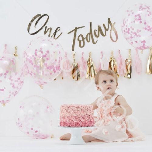 Pink Gold Baby Girl 1st Birthday Party Decorations Cake Smash Kit Photo Backdrop