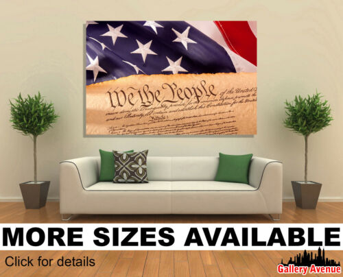 Old American Constitution USA Flag 3.2 Wall Art Canvas Picture Print