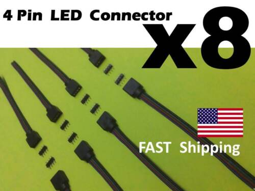 8 PCS Male Female 4 pin part Wire RGB Connector 3528 5050 RGB LED light Strips