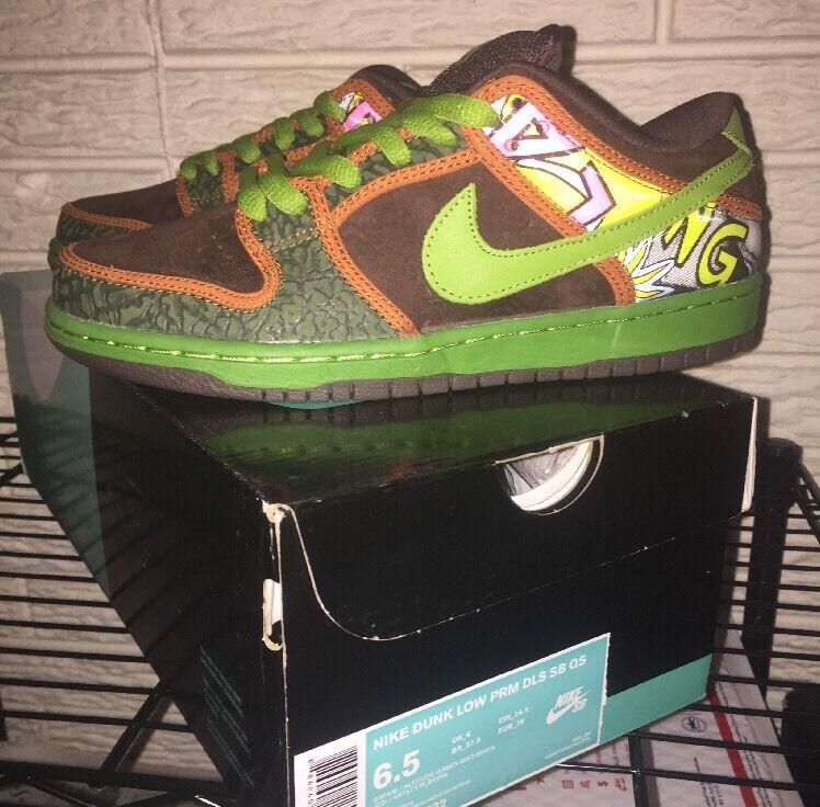 New DS Nike Dunk Low PRM DLS SB QS sz 6.5 De La Soul 789841-332 Green Brown