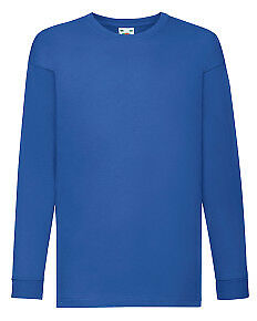 Fruit Of The Loom T-Shirt Boys Long Sleeve T Shirt Plain Tee Top Ages 3 To 15