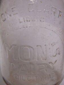 Vintage-1940s-MONG-DAIRY-QUART-EMBOSSED-GLASS-MILK-BOTTLE-OIL-CITY-PENNSYLVANIA