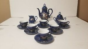 Antique-Blue-amp-Gold-Peacock-Tea-Set-FOR-6-Made-In-Japan-Rare-TEAPOT-MUSIC-BOX