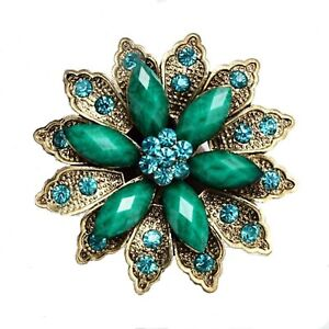 BROOCH-Green-Flower-Crystal-Rhinestone-Pin-on-Brooch-Mothers-Day-Gift-for-Mum