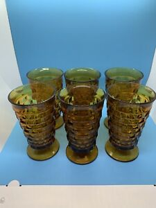 Vintage-Indiana-Amber-Glass-Whitehall-Cubist-Pattern-14-Oz-Tumblers-Lot-of-6