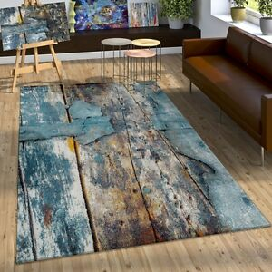 Tapis-Design-Colore-Bois-Effet-Relief-En-Turquoise-Jaune-Gris-Chine