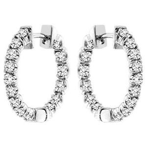 1-50-CT-TW-Inside-Outside-Round-Diamond-Hoop-Earrings-in-14k-White-Gold-New