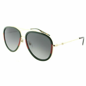 e589effb5476f Gucci GG0062S 003 Red Striped Green Gold Aviator Sunglasses Grey ...