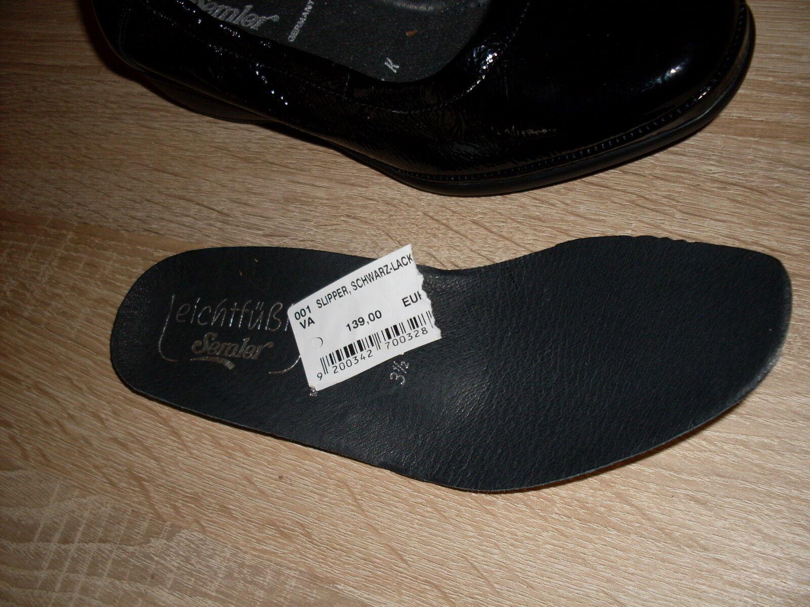 SEMLER Slipper NEU Gr. 3,5 = schwarz 36,5 Überweite K in schwarz = & Lackleder 2a52a2