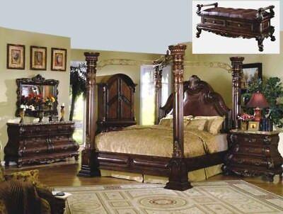 Mcferran B9099 Ek Monaco King Size Canopy Bedroom Set 5 Pc Classic Ebay