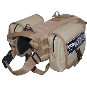 Tactical Military SERVICE DOG VEST HARNESS Removable Side Bags & label Patches