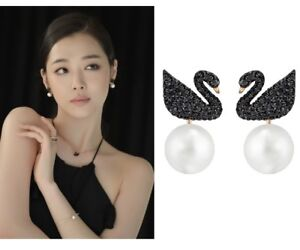 Image Is Loading Swarovski Iconic Black Swan Earrings Pearl Pe Jckt
