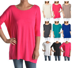 USA-Women-Boatneck-Tunic-Top-Half-Sleeve-Shirt-Dolman-Loose-S-M-L-1X-2X-3X-PLUS