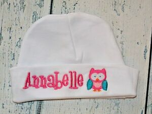 7c717e3a7 Details about PERSONALIZED Baby Hat Monogrammed with Name Owl Infant Beanie  Cap Monogram