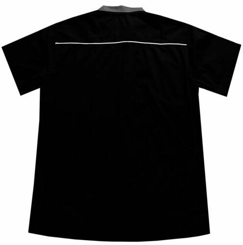 Men/'s Tenpin Grey Black Bowling Shirt Open Neck Vintage 1950/'s Rockabilly Top