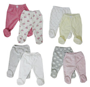 Baby-Girl-Boy-2-PACK-Baby-Crawlers-trousers-with-feets-soft-velour-0-3-3-6-6-9