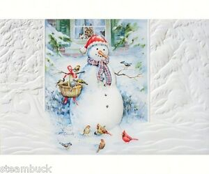 box of 16 christmas cards snowman birds pumpernickel press