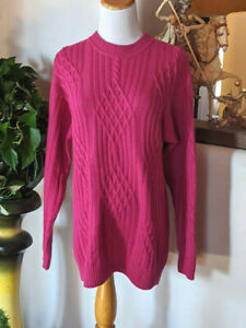 Vintage-GUCCI-Cashmere-Sweater-Raspberry-Pink-80-039-s-Thick-Cable-Knit-Italy