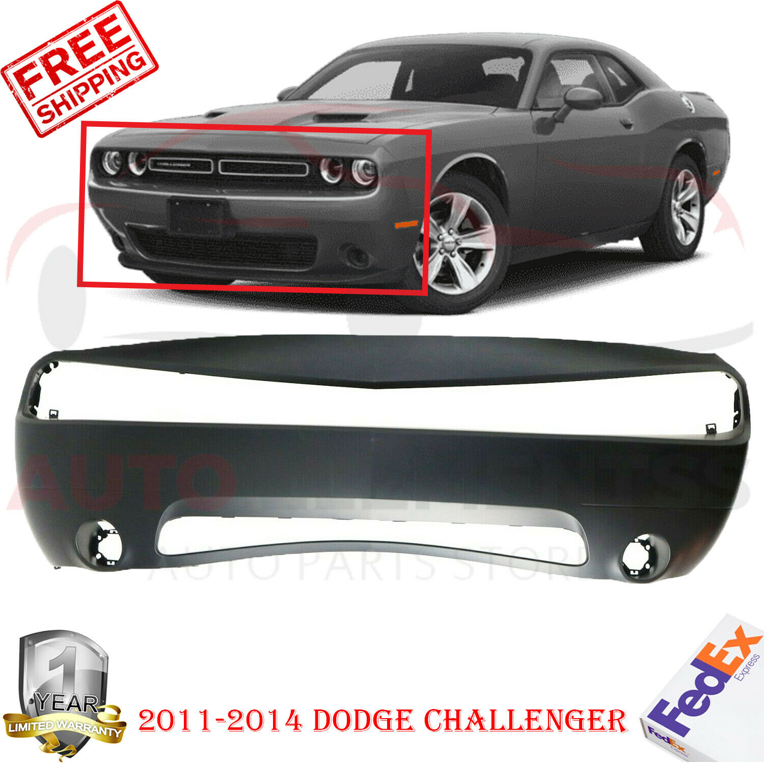Front Bumper Cover Primed For 2011 2014 Dodge Challenger 68109836ab Ebay