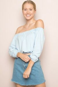 Brandy-Melville-Light-Blue-Crop-cotton-off-shoulder-ruffle-trimmed-Maura-Top-NWT