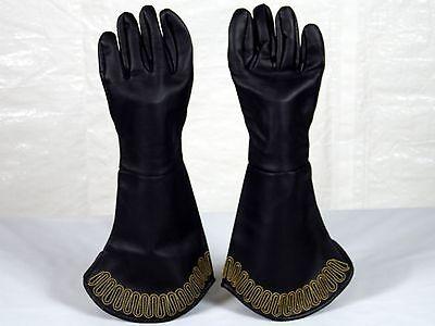 Black Vinyl Gloves Gauntlets Gold Trim Knight Pirate Warrior Costume Accessory