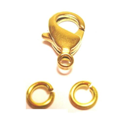 5 MM Jump Rings 20 Natural Solid Brass 10 MM BRASS Lobster Clasp Pkg.of 10