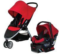 Britax B-agile 3 Travel System Stroller W B-safe 35 Infant Car Seat Red 2017