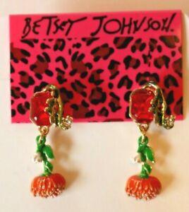Betsey-Johnson-Crystal-Rhinestone-Enamel-Flower-Post-Earrings