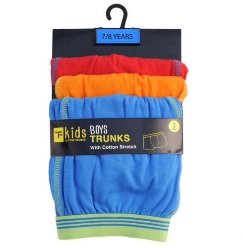 Ragazzi Bambini Confezione 3 Boxer Trunks Tom Franks Blu Arancione Rosso 95/% COTONE 5/% Elastan