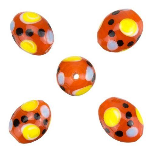 Spotty Oval Rojo Brillante Hecho A Mano India Perlas De Vidrio 17x12mm Pack De 5 b22//6