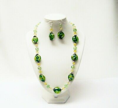 Round Brown wBlack Swirl Glass Bead Pendant Necklace Earrings Set