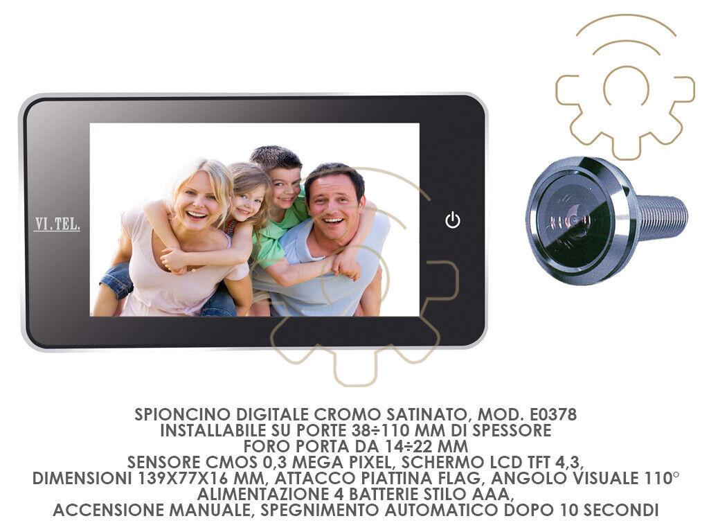 Spioncino digitale mod E0378 cromo satinato schermo lcd tft 4.3  attacco piattin