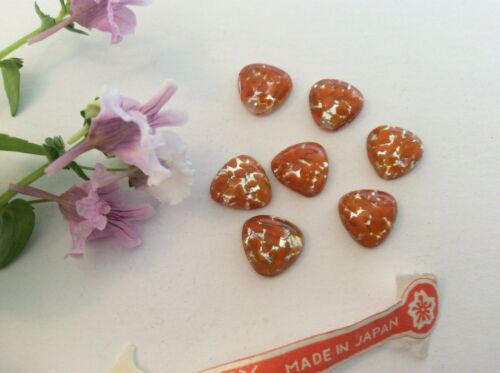 Vintage Glass Tri Flatback Cherry Brand Coral Opal Pack of 6 CRAFT Post Free