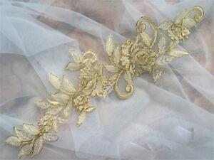 Or-en-dentelle-de-mariee-applique-broderie-mariage-motif-floral-coudre-sur-Trim-1-paire