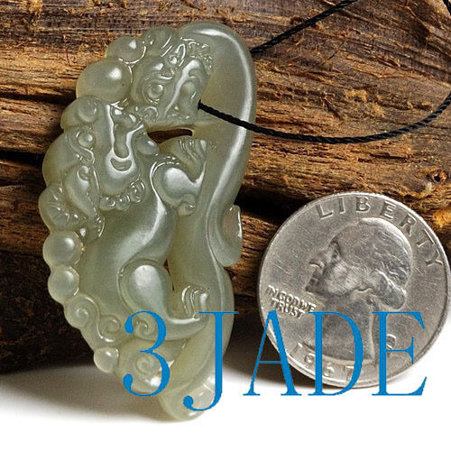 Carving Natural Hetian Celadon Nephrite Jade Ancient Style Dragon Pendant