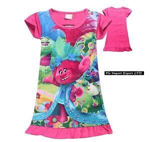 Trolls-Poppy-Vestito-Estate-Bambina-Casual-Summer-Poppy-Girl-Dress-TRDRES04