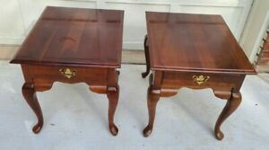 Vintage Pair Broyhill End Tables Queen Anne Solid Cherry Wood - Local Pickup KC