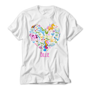 Christmas Gift Personalised Girl/'s Unicorn Printed T-Shirt,Named Birthday
