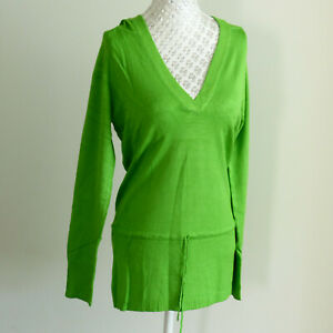 Black-Yellow-Green-White-Red-Brown-Long-Tunic-Hoody-V-Neck-Top-Sweater-Jumper-12