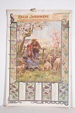 Grand calendrier 1901 Belle Jardinière 4 feuilles J DUPRE-H THIRIET Art Nouveau