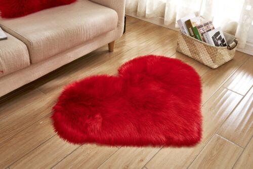 Heart Pad Soft Mats Carpet Hairy Plain Skin Fur Plain Fluffy Rugs Bedroom Carpet