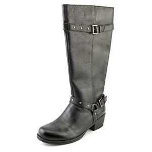 B.O.C. Cam Women Round Toe Leather Black Knee High Boot