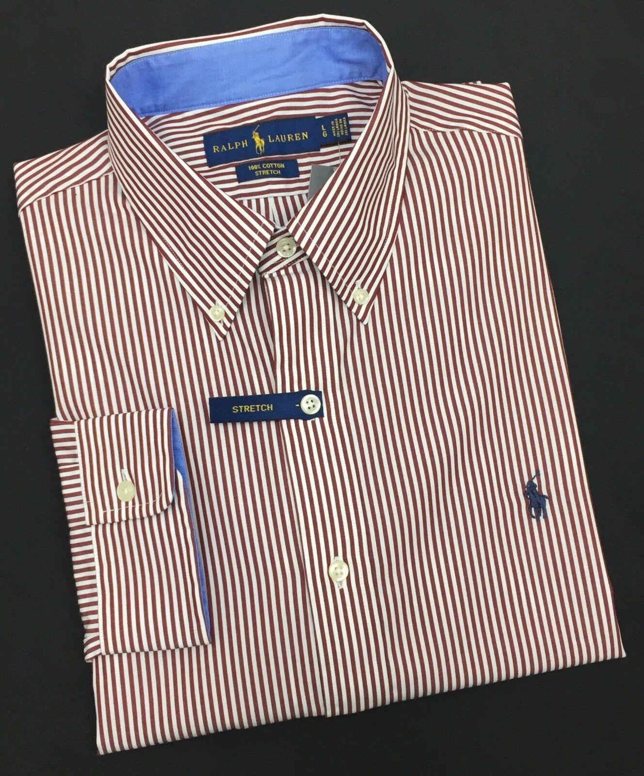 d9c9ca74 Ralph Lauren Long Sleeve Shirt 100% Cotton Stretch shirt Burgundy White  Stripe