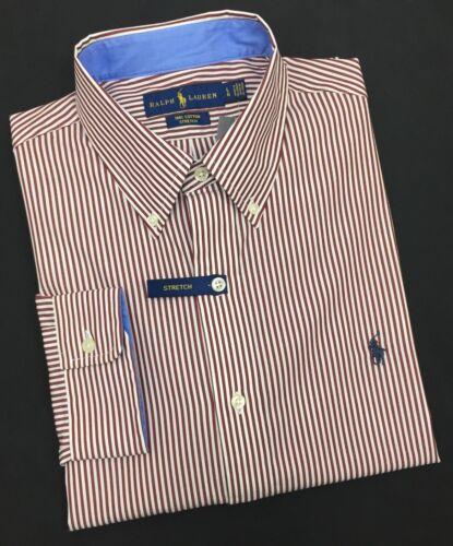 Ralph Lauren Camicia a maniche lunghe 100% Cotone Stretch Camicia a righe bianco/bordeaux