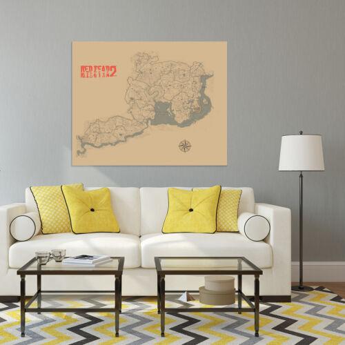 HD Virtual Maps Poster Fictions Map Games Map Silk Cloth Map Print Wall Decor