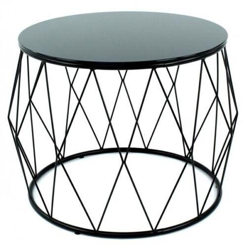 Couchtisch Tamburo 2079 Beistelltisch Modern Dekotisch Metall Glas Schwarz Rund