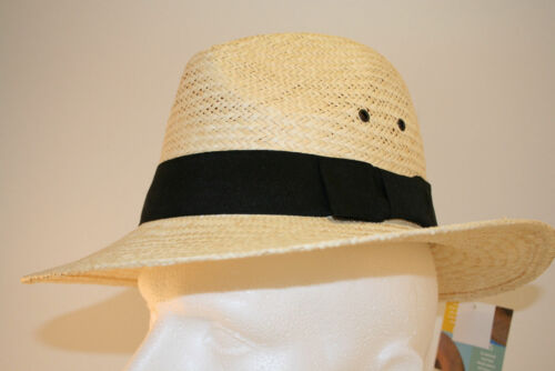 Straw mens summer Trilby hat with band and eyelets 58 cm Medium £9.99 only